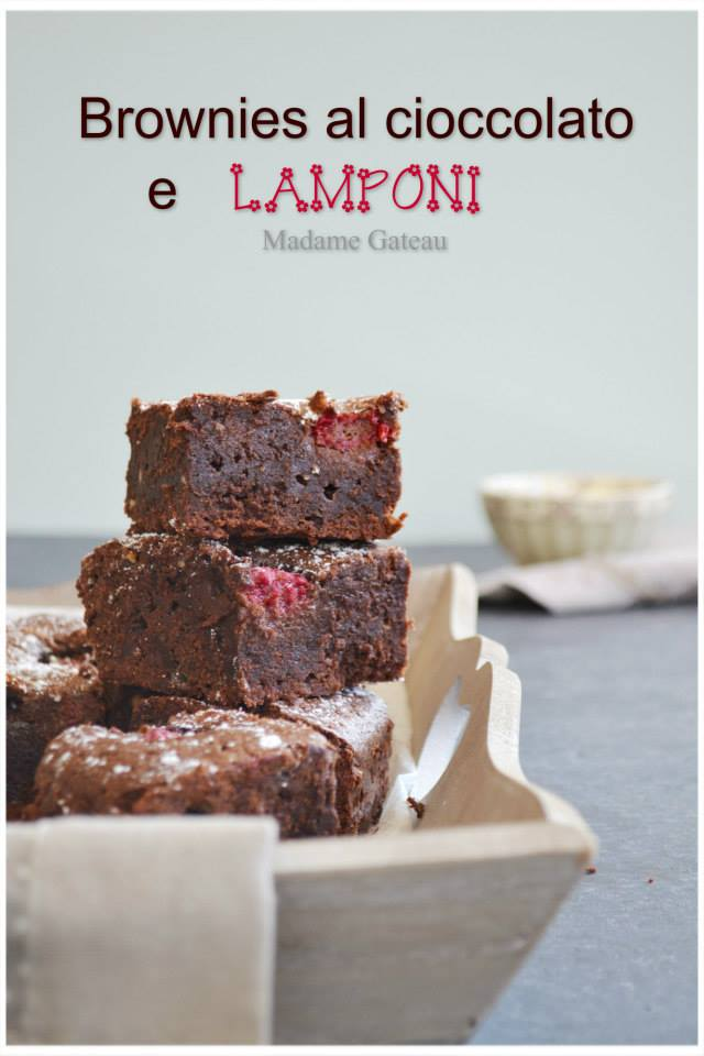 brownies cioccolato e lamponi